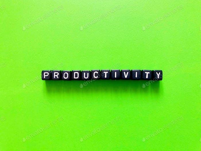 Productivity. Productive. Letter blocks. Alphabet blocks.
