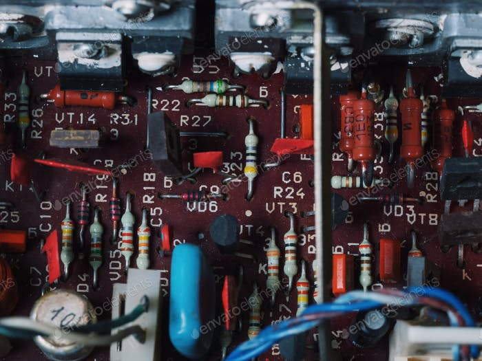 The soft blurred of the old car stereo power amplifier