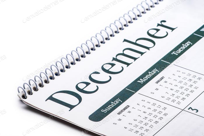 Planning and events, month of December on a calendar