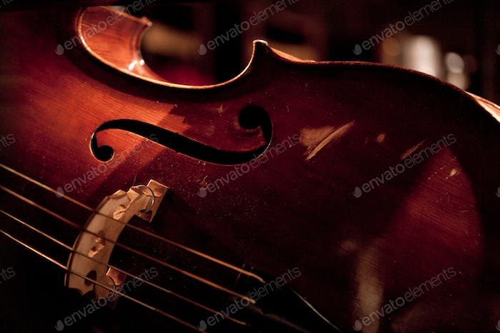 Double bass on the stage at jazz concert