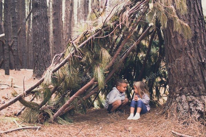 Kids in stick fort