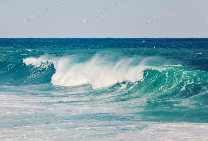 Large aquamarine wave close up, texture