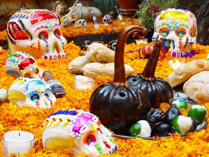 Colorful Mexican altar for day of the dead