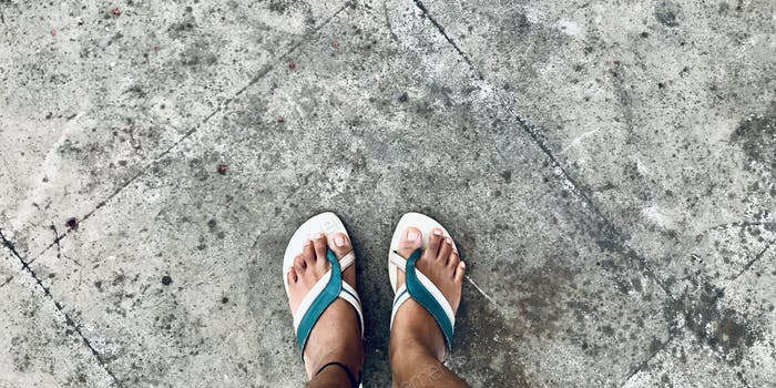 A colorful sandals on a flat lay ground