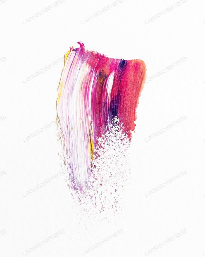 Single colorful paint brushstroke on a white background