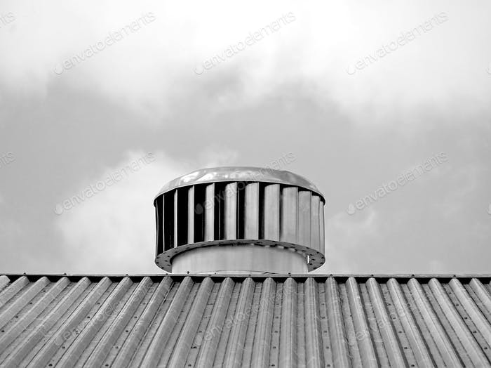 Vent on the roof of a warehouse
