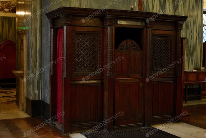 View of a confessional in a Christian church