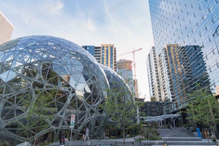Amazon World Headquarters Spheres terrarium greenhouse globe