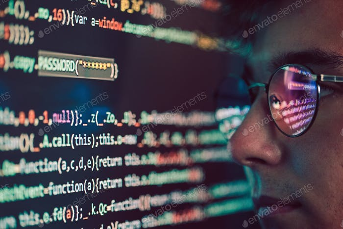 Hacker using computer, smartphone and coding to steal password and private data