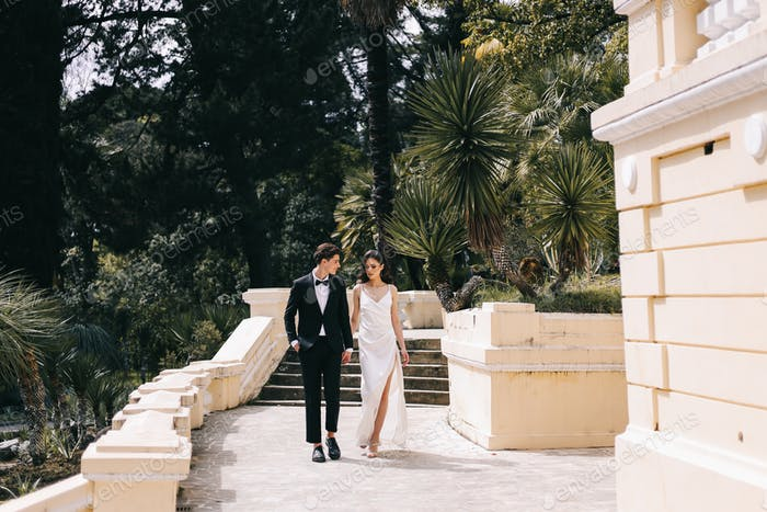 A happy man and a woman in love in wedding dress are walking among palm trees and plants in nature