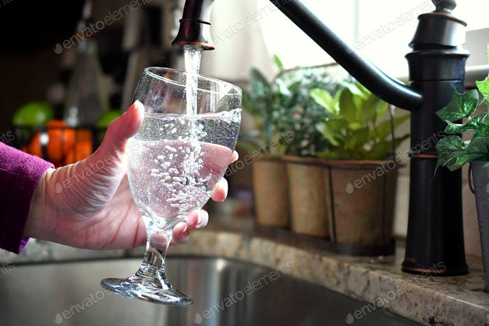 Filling a glass goblet of water from the kitchen sink faucet