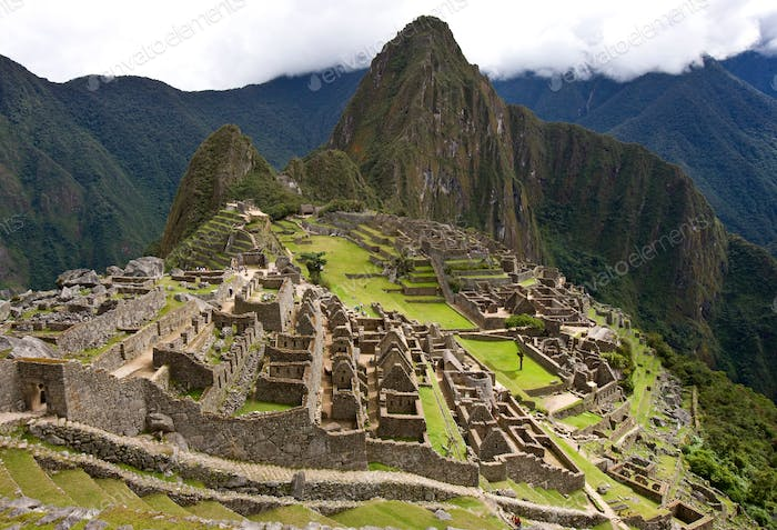 The Inca citadel of Machu Picchu in Peru - a 15th century Inca citadel situated on a mountain ridge