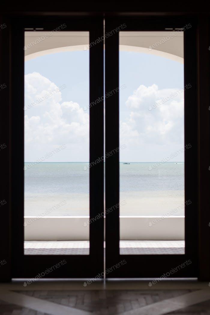 Glass doors to beach