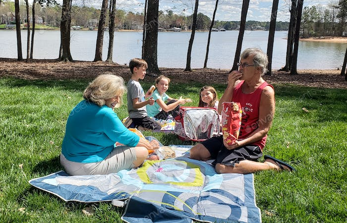 Grandparents hosting a picnic in lakeside park for their grandkids to enjoy as long as they keep