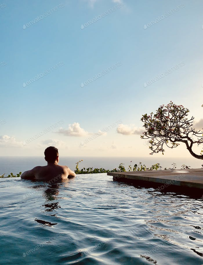 Chilling out in the infinity pool in the villa at the Bvlgari Resort Bali.