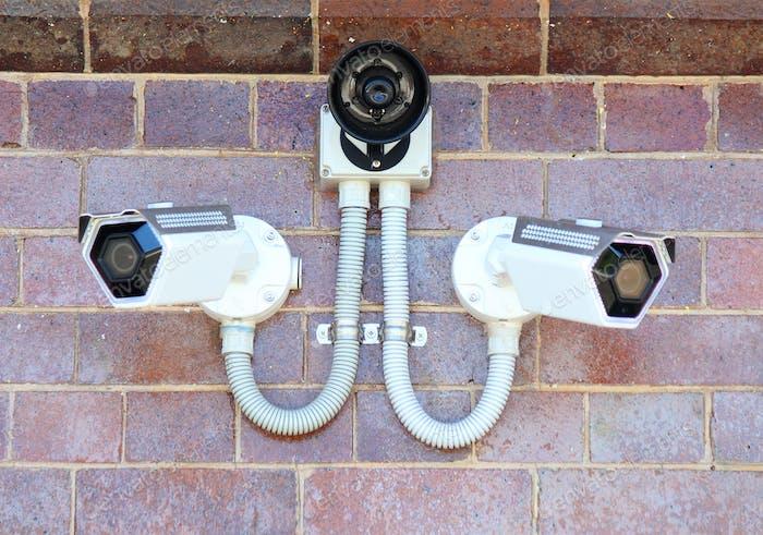 Surveillance cameras on duty