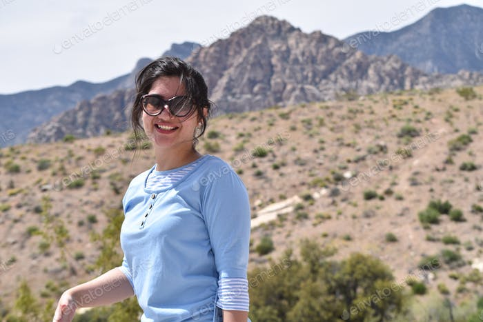 Young woman with sunglasses at Red Rock Canyon outside Las Vegas