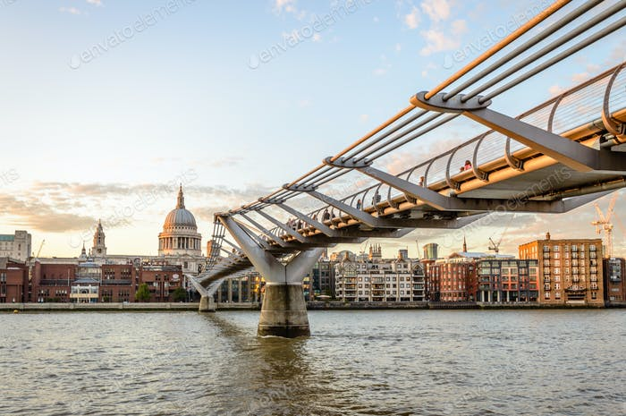 Millenium Bridge and London waterfront with St Pauls Cathedral