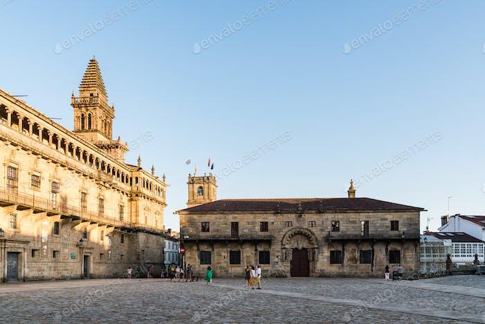 View Square of Obradoiro in Santiago de Compostela in Galicia, Spain