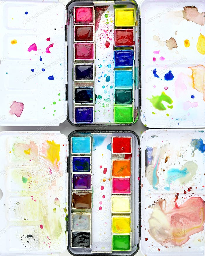 Messy watercolor tins.