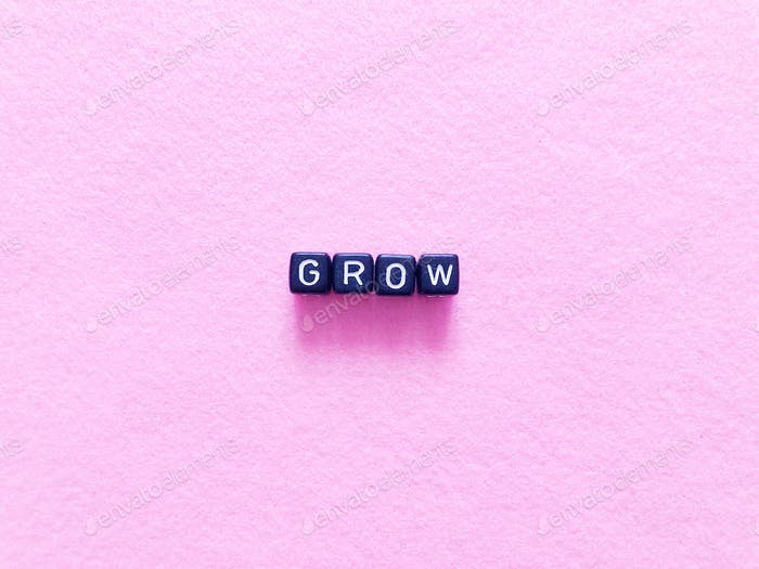Grow. Growth. Growing. Alphabet blocks.