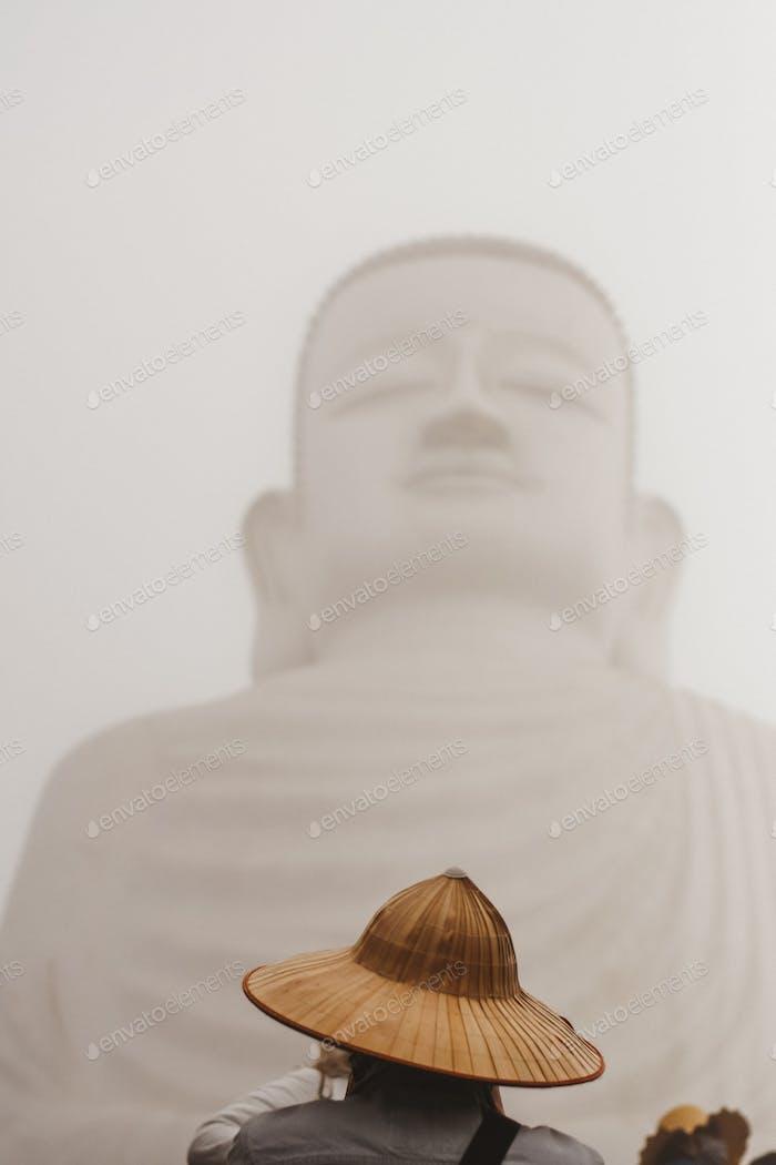 Big Buddha and vietnamese hat
