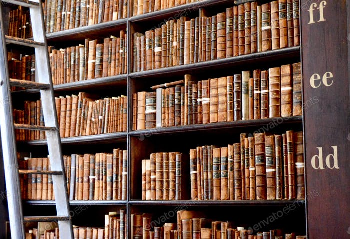 Hundreds of old books in the library of Trinity College in Dublin, Ireland, with a ladder to reach.