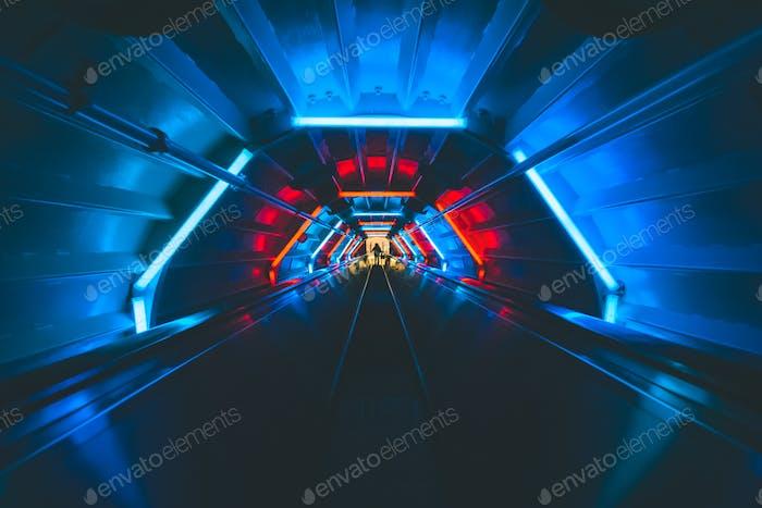 Neon light tunnel futuristic view