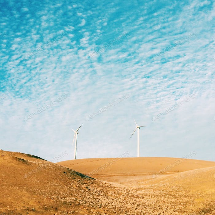 Large Windmills in the foothills of California.
