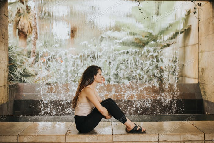 Woman waiting alone