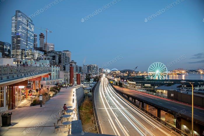 Seattle waterfront long exposure