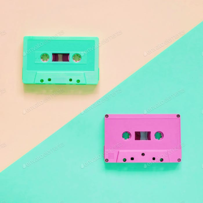 Flat lay of colorful retro cassette tape