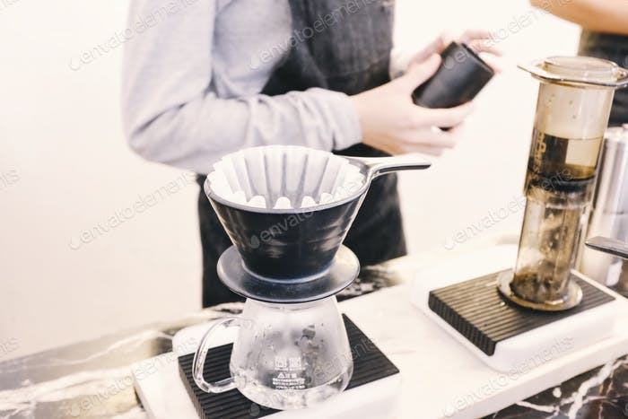 Drip Coffee kettle on working