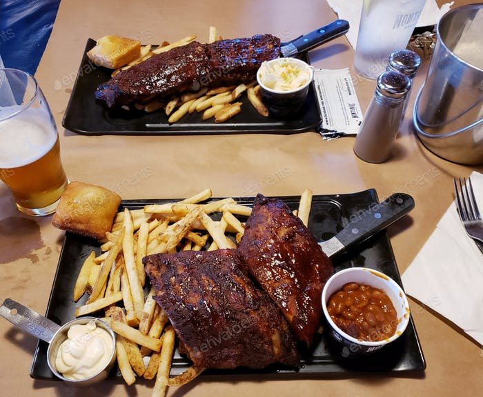 Hearty meal of BBQ ribs and fries