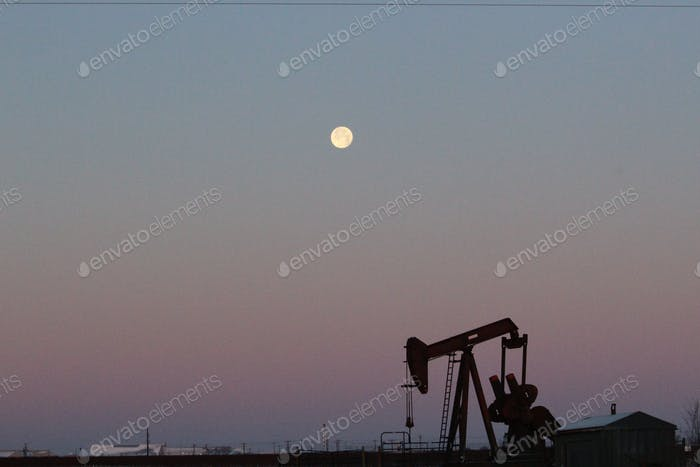 Texas pumpjack and full moon ⭐️Nominated⭐️