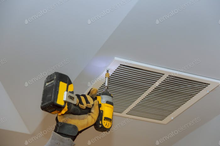 The process of installing mounting skin ceiling covered by metalic ventilation cover in