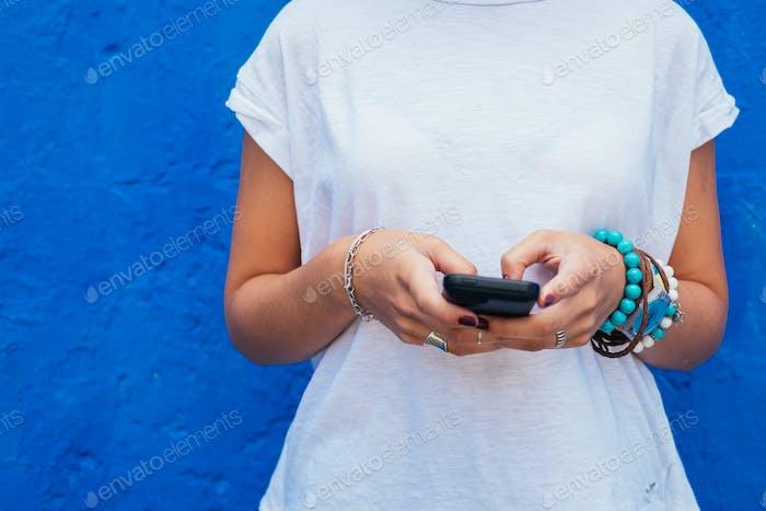 woman using mobile phone