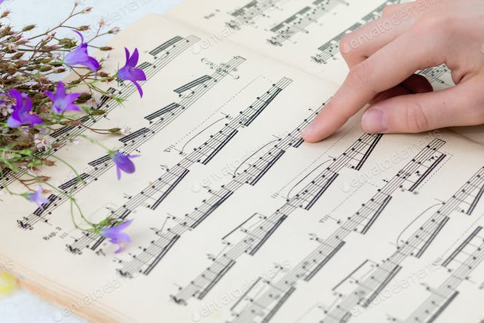 book with musical notes and flowers
