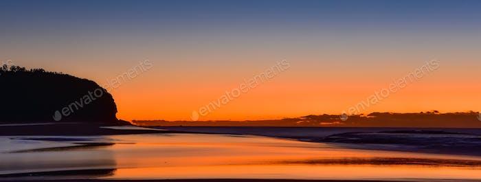Beach landscape at dawn.