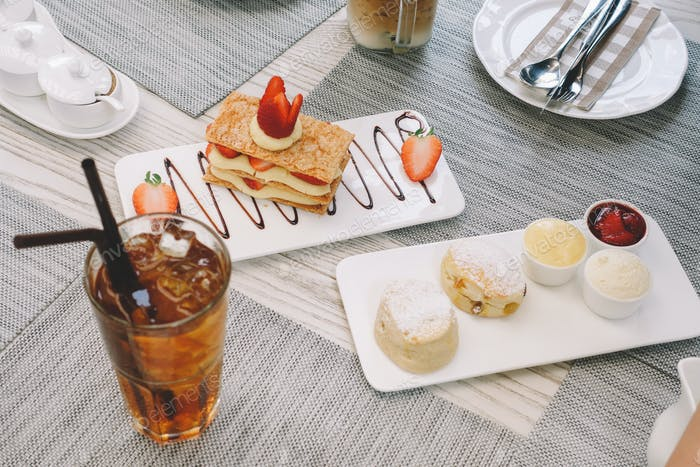 Sweets Set, Mille-feuille, Scones and iced tea