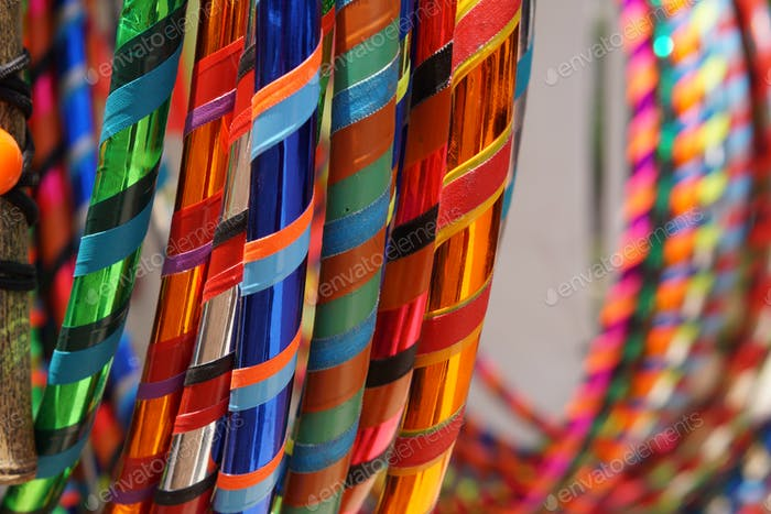 Colorful display of hula hoops.