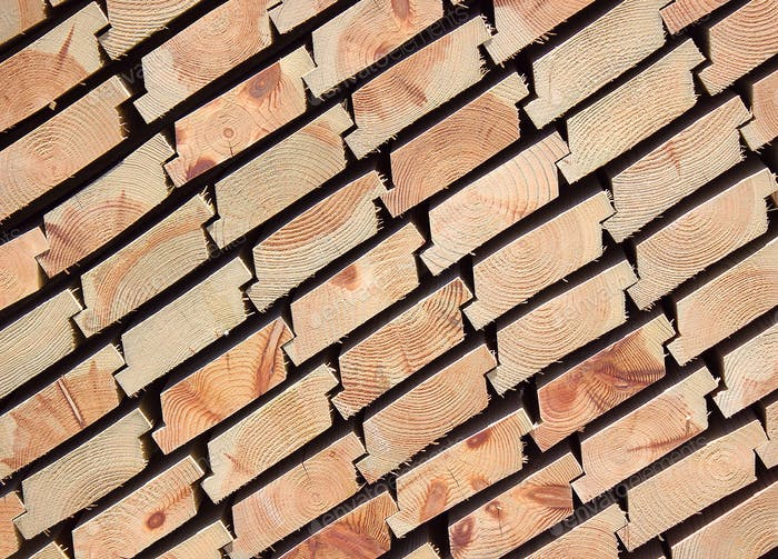 Planks of timber stacked up
