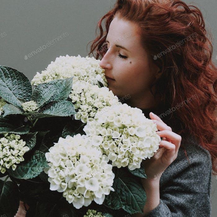 Smelling hydrangeas