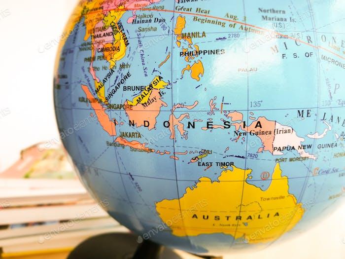 indonesia on the map, atlas globe