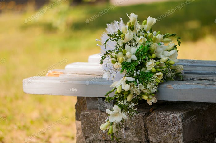 Bouquet of white freesia flowers