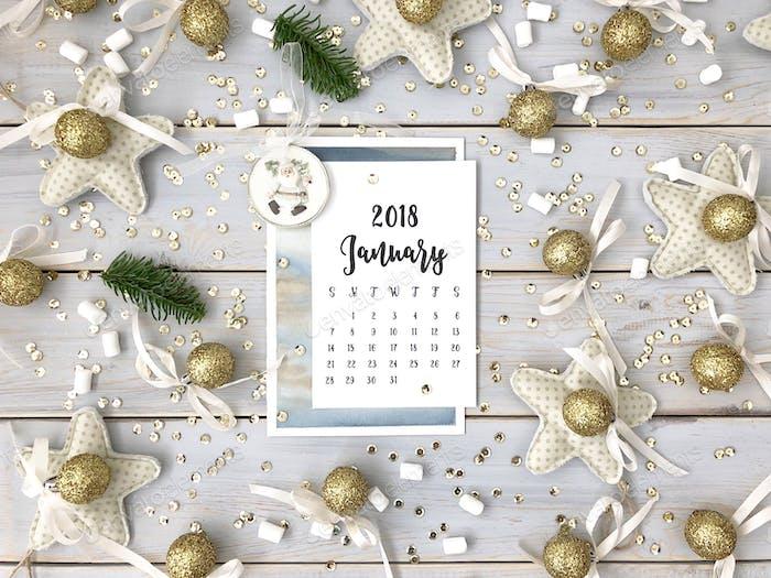 The calendar for January, 2018