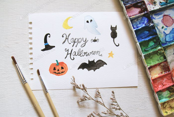 halloween in watercolor paint