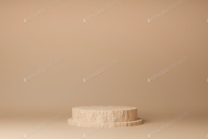 Circle podium brown pastel color with rock texture. 3D Rendering illustration. Mock-up showcase for