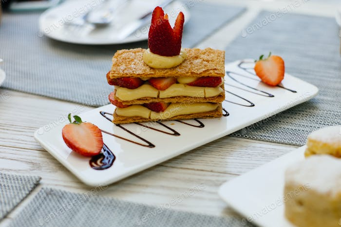 mille feuille, Layered dessert with cream and strawberry