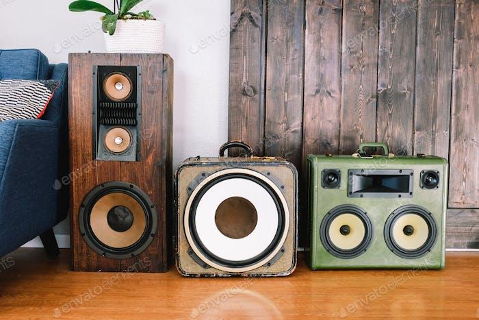 Vintage stereos mid century design loft urban home barn door